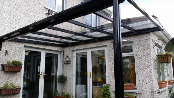 Black Finish Patio Cover Using Clear Solid Polycarbonate