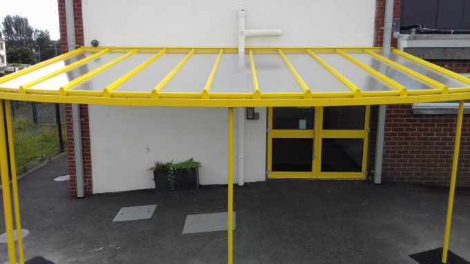 Yellow curved school canopy Co Antrim & Multicover u2013 School Playground Canopies